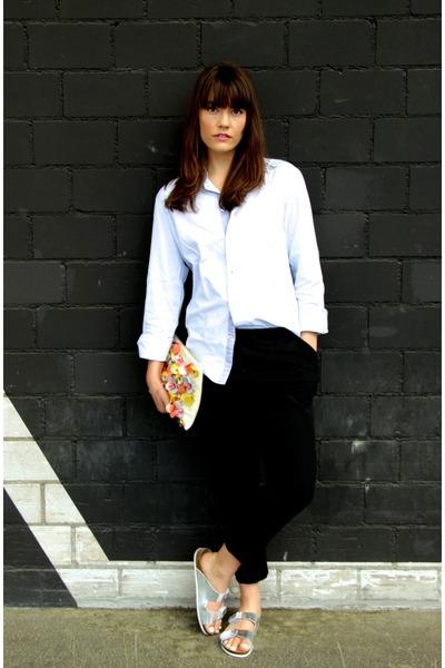 light blue menswear Matinique shirt - coral clutch floral asos bag