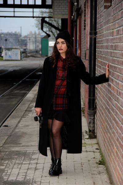 cashmere black Max Mara coat - biker Zara boots - beanie H&M hat
