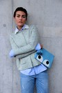 Turquoise-blue-rochas-blazer-light-blue-anya-hindmarch-bag