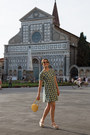 Turquoise-blue-max-co-dress-yellow-radley-bag-gold-pollini-sandals