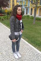 Chanel blazer - Pimkie jeans - Chanel shirt - Converse sneakers