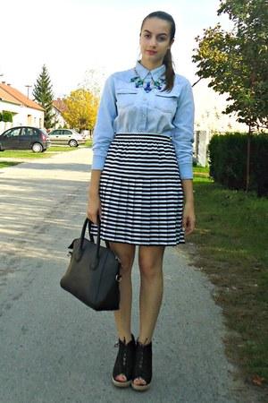 black vintage skirt - light blue Romwecom shirt - black dressv bag