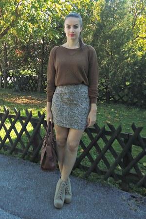 brown tidebuy sweater - light brown Pull & Bear skirt