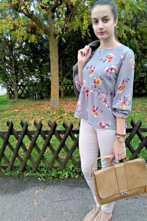 light brown H&M blazer - heather gray choiescom top
