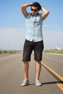 Sky-blue-cotton-blend-pacsun-shirt-black-denim-american-eagle-shorts