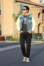Black-joes-jeans-jeans-blue-aeropostale-jacket-gray-american-eagle-shirt