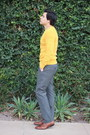 Brown-aldo-shoes-gold-h-m-sweater-heather-gray-express-pants