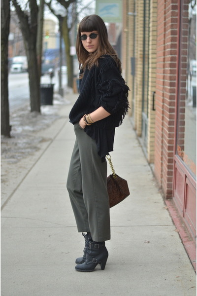 black Target boots - black vintage sweater - olive green H&M top