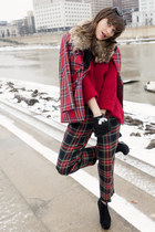 ruby red ann taylor sweater - vintage pants