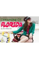 hot pink Florida Drugstore hair accessory - turquoise blue vintage jacket