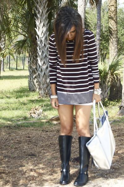 BCBG top - DSW boots - Michael Kors bag - Express shorts