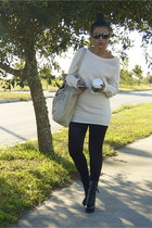 beige banana republic sweater - black BCBG leggings