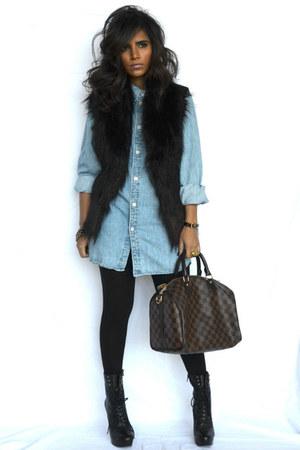 black Nine West boots - black Zara vest