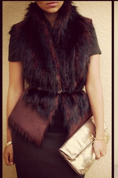 green Zara dress - dark brown fur Zara vest