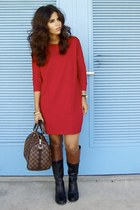 black etienne aigner boots - red NY&CO dress