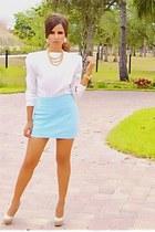 light blue mini skirt Express skirt - white shoulder pads blouse