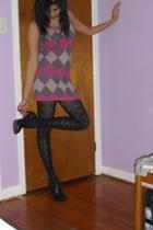 pink dress - black tights - black shoes
