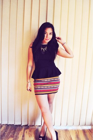 black asoscom purse - bodycon blockout skirt - black wedges Lipstik wedges