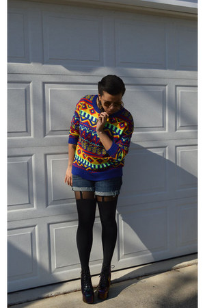 blue Staring at Stars sweater - yellow litas Jeffrey Campbell boots