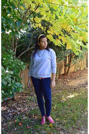 hot pink floral print homemade blouse - navy jeggings Forever 21 leggings