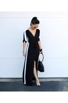 black Gucci purse - black maxi BCBG dress - white carrera sunglasses