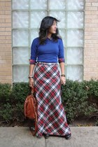 brick red wool maxi vintage skirt - navy Jeffrey Campbell shoes