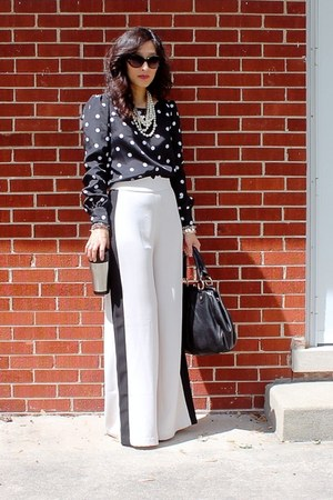 black polka dot JCrew blouse - ivory LineDot pants
