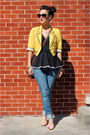Pink-floral-9west-shoes-yellow-studded-forever-21-jacket