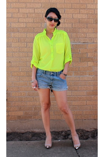 yellow neon Akira blouse - blue Old Navy shorts - navy YSL sunglasses