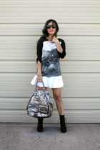 black printed silk BCBG blouse - black Aldo boots - white H&M skirt