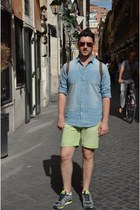 sky blue Zara shirt - heather gray Adidas shoes - lime green Zara shorts