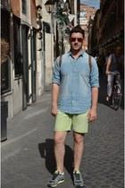 sky blue Zara shirt - heather gray Adidas shoes - lime green Zara shorts