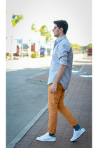 heather gray Zara shirt - teal JCrew socks - mustard Massimo Dutti pants