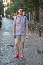 hot pink H&M shoes - blue Mango shirt - beige Zara shorts