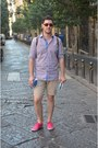 Hot-pink-h-m-shoes-blue-mango-shirt-beige-zara-shorts