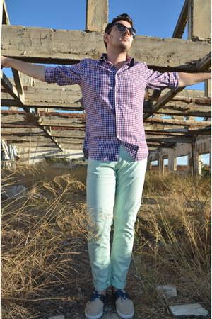 purple Massimo Dutti shirt - beige Zara shoes - lime green Zara pants