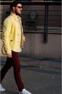Yellow-massimo-dutti-jacket-maroon-zara-pants-white-adidas-sneakers