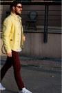 Yellow-massimo-dutti-jacket-maroon-zara-pants-white-adidas-sneakers