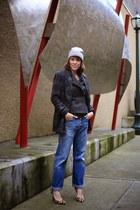 navy 501 Levis jeans - mustard pumps BCBG shoes - navy plaid Joa coat