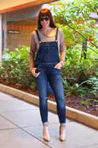 blue overalls Zara jeans - tan pumps Mix No 6 shoes