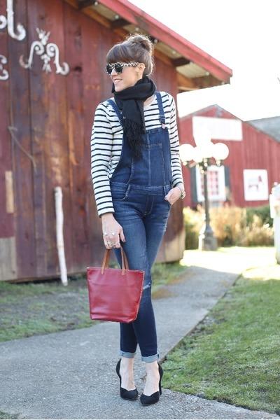 black pumps Jessica Simpson shoes - navy overalls Zara jeans