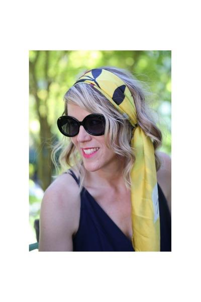 yellow silk scarf - black oversized asos sunglasses