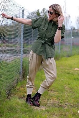 dark green cargo shirt - beige silk joggers Nordstrom pants