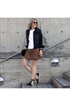 black flats Zara shoes - black denim jacket - tawny suede mini asos skirt