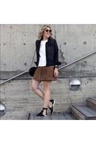 black flats Zara shoes - black denim jacket - tawny suede mini asos skirt