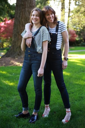 navy overalls H&M jeans - white striped H&M t-shirt