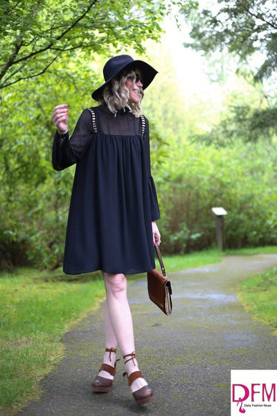 black swing Mango dress - dark brown clogs free people clogs