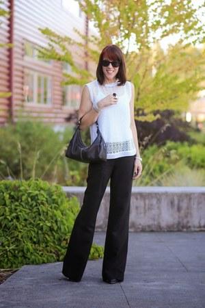 black wide leg Gucci pants - white Zara top