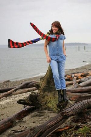 Nordstrom scarf - black booties Tahari boots - sky blue denim Zara romper