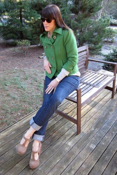 wool pea coat Cabi jacket - buckle shoes Shoe Dazzle shoes